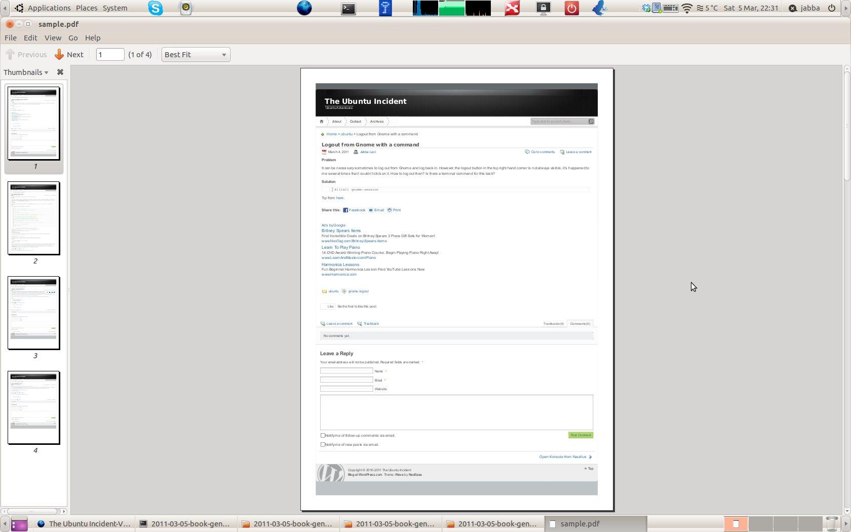 Convert Your Wordpress Blog To A Pdf Book The Ubuntu Incident How To Edit A  Pdf