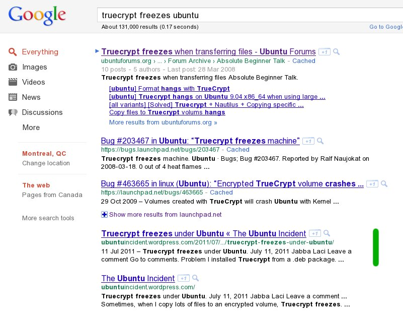 "google images freezes firefox. I just wrote an entry entitled ""Truecrypt freezes under Ubuntu""."